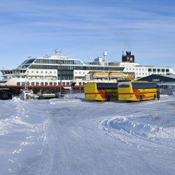 MS Midnatsol, at port in Kirkenes