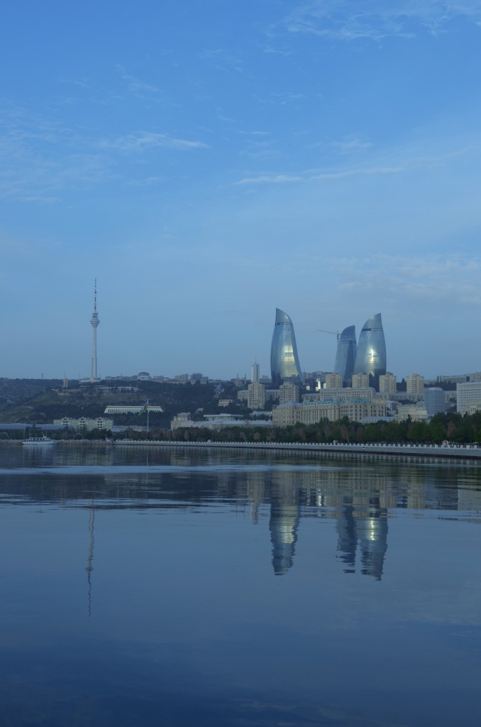 Waterline: The view across Baku Bay shows the chestnut flanked waterfront and a skyline dominated by the Flame Towers and the Baku TV Tower