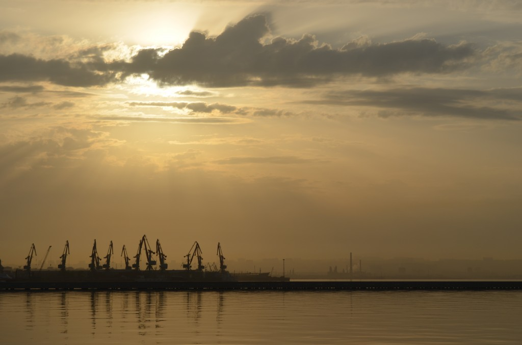 Sunrise over Baku Bay and the Caspian Sea. With a population of over two million, Baku is the largest city on the Caspian.