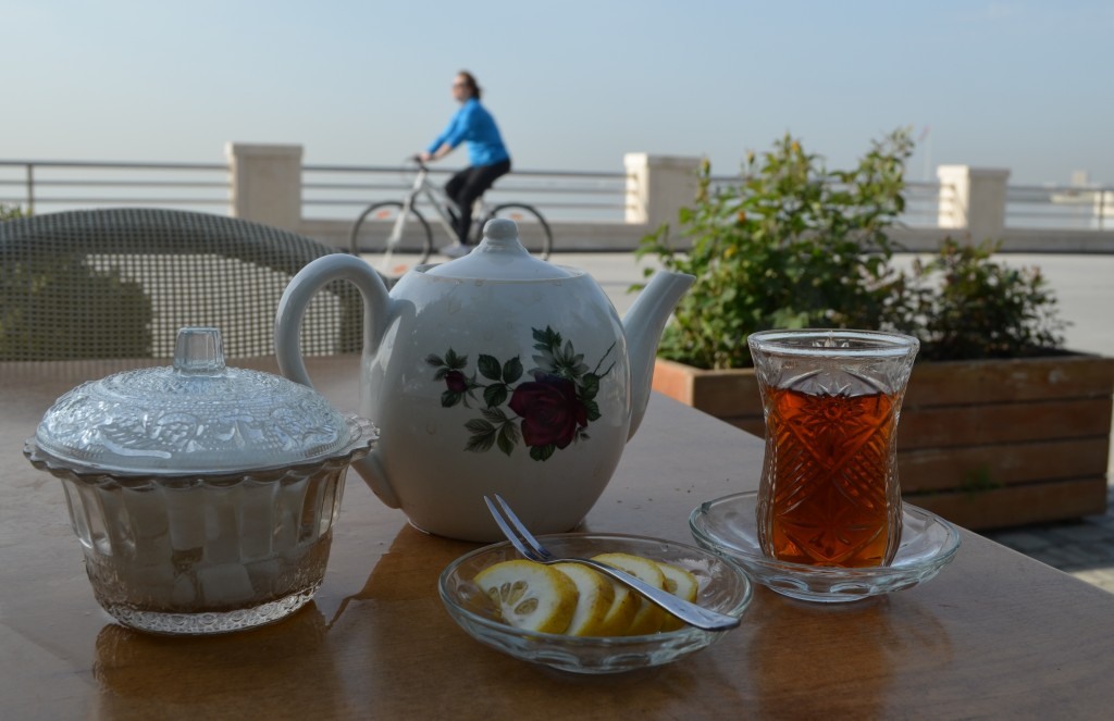 Caspian Tea: typically Azerbaijan's national beverage is enjoyed black, with lemon and accompanied with dried fruits.