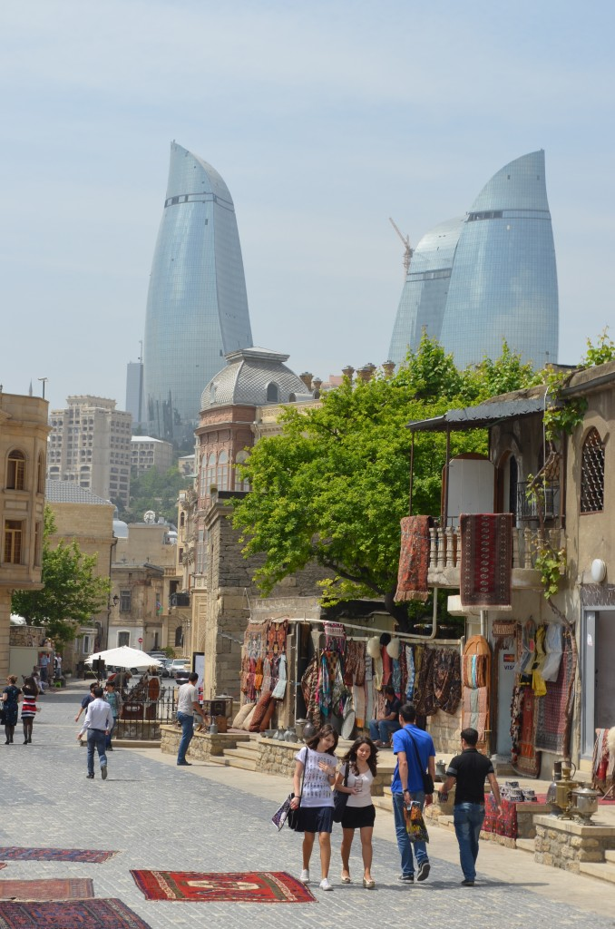 If ever a view captured Baku's contrasting architecture, it's this streetscape taken from outside the Maiden Tower.