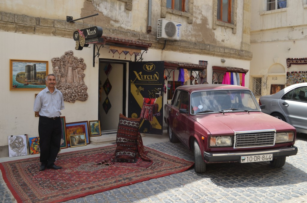 Such is the lack of tourism in Azerbaijan, you'll find locals, like this carpet trader in the Old City, will glady pose for photographs.
