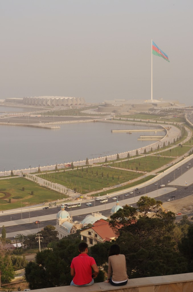 Baku's Nagorny Park looks over the entire bay, including views over the world's second highest flag-post and the arena for this year's Eurovision Song Contest, the Crystal Hall.
