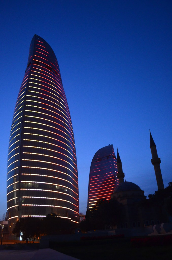 If gleaming against Baku's scorching sun was impressive enough, at night, the Flame Towers put on a flickering light show thanks to 10,000 high-powered L.E.D.s